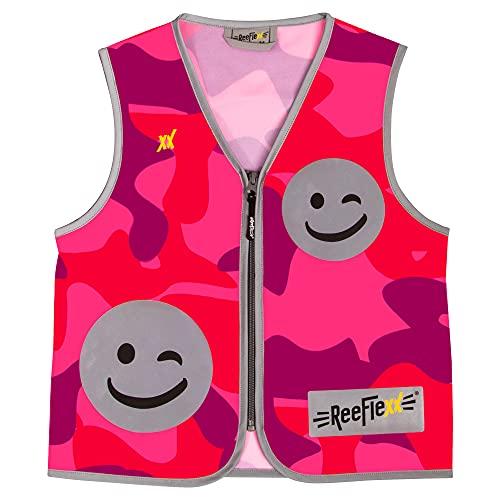 REEFLEXX Coole Kinder Reflektorweste, Reflektionsweste, Sicherheitsweste, erhöhte Sichtbarkeit im Straßenverkehr durch Reflektoren, Farben und Muster, Pink Camou Smiley - Größe M
