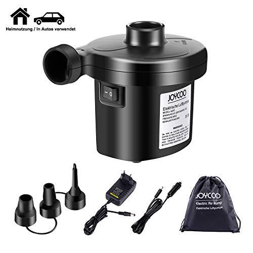 Joycoo Elektrische Luftpumpe Luftmatratze Pumpe für Airbed Camping,Inflator Deflator für, Pools, Boote,Floß,AC 230V DC 12V Auto …