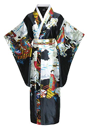 Kimono de japonesa-Disfraz para mujer, diseño de geisha negro talla única
