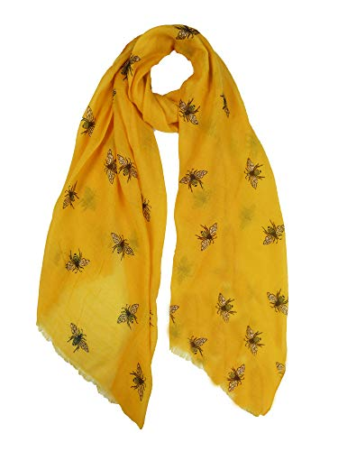 Claudia & Jason® Glitter Bumble Bees Busy Bee Print Fashion Scarf Wraps Shawl Soft Scarfs For Women (Mustard)