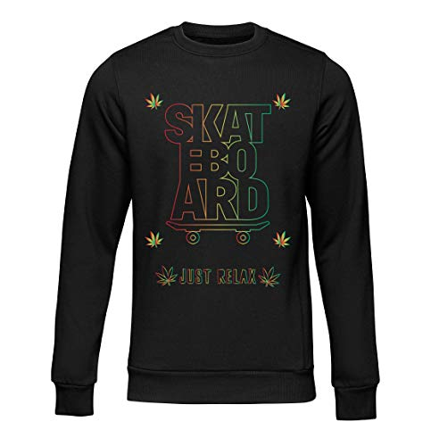 Okdok, Herren Sweatshirts Just Relax Skateboard Lovers Design Apparel Clothing Line Gr. Medium, Schwarz