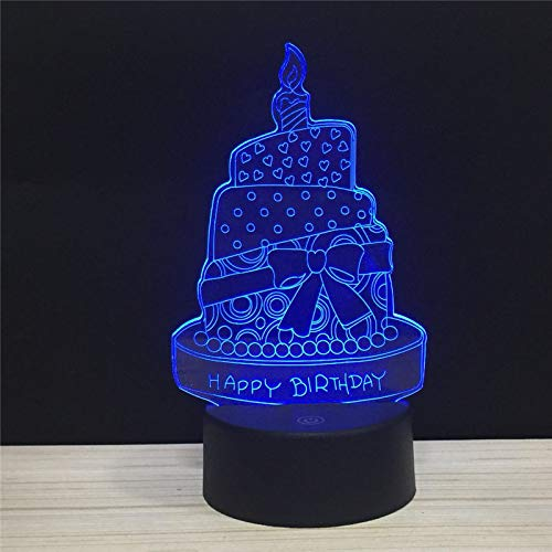 Verjaardagstaart kaarsen 3D nachtlampje LED illusie lamp met 7 kleuren wijzigen en afstandsbediening - verjaardag en kerstcadeaus voor kinderen nachtkastlampje slaapkamerdecoratie