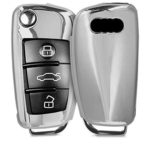 kwmobile Custodia Copri-Chiave Compatibile con Audi con 3 Tasti Pieghevole - Cover Chiavi Auto in Silicone TPU - Guscio Elastico Protezione Argento Brillante