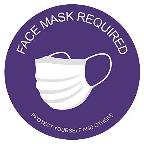 Sticky Brand Face Mask Required Sign Stickers – Wear Your Mask Sign – Wall, Window or Glass Door Sign – Covid Sticker Face Mask Signs for Businesses (Circle 6' - Pack of 25, White, Purple)