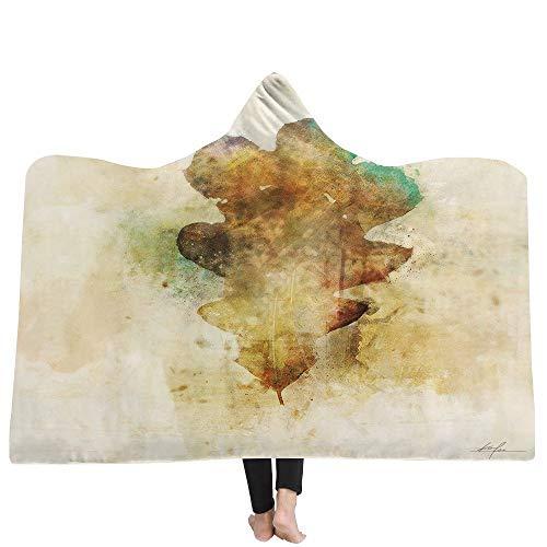 Mantas para sofá y cama,resistentes a las arrugas,anti-fade,Impreso 3D hojas de otoño con capucha manta capucha manta gruesa manta hogar alfombra niños manta siesta, 130X150CM