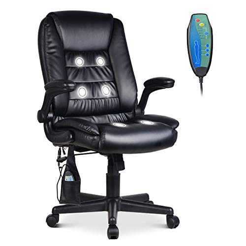 LENTIA Office Massage Chair High Back Executive Chair Ergonomic Leather Computer Desk Chair with 6 Vibrating Point, Black (27.16' W × 28.34' D × 41.73-45.74' H)
