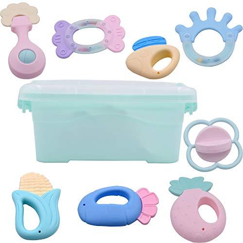8pcs Rassel Beißring Set Baby Spielzeug Shaker Greifen Rassel Baby Kleinkind Spielzeug Frühe Lernspielzeug für 3 6 9 12 Monate Jungen Mädchen Baby Geschenke