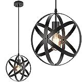 Industrial Metal Pendant Light, 11.8'' Farmhouse Hanging Light Fixtures, Adjustable Chandelier Ceiling Lamp, Spherical Pendant Lighting for Kitchen Island Dining Room, LED Bulb Included, Matte Black