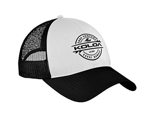 "Koloa Surf Thruster Logo""Old School"" Curved Bill Mesh Snapback Hat-Blk/Wht/Blk"