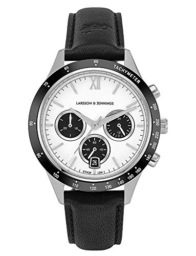 Larsson & Jennings Rally Unisex Mens & Womens Watch with 39mm Silver/Black/Satin White Dial and Black Leather Strap CHR39-LBK-SBW.