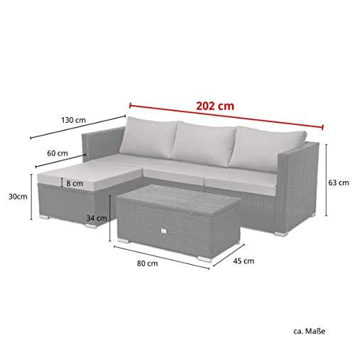 SVITA Queens 2020 Poly Rattan Sitzgruppe Couch-Set Ecksofa Sofa-Garnitur Gartenmöbel Lounge Schwarz, Grau oder Braun (Braun) - 8