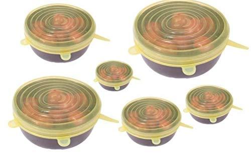 HDMJ Juego de 6 tapas elásticas de silicona multiusos, reutilizables, para conservación de alimentos de silicona, para conservación de alimentos en el refrigerador (color: 6 unidades), color amarillo