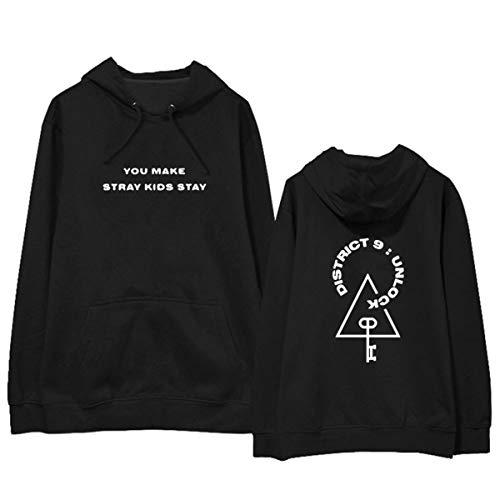 Kpop Stray Kids District 9 Unlock Manches Longues Sweats à Capuche Imprimé Sweat-Shirt Outwear Minho Jisung Woojin Changbin Felix (1,M)