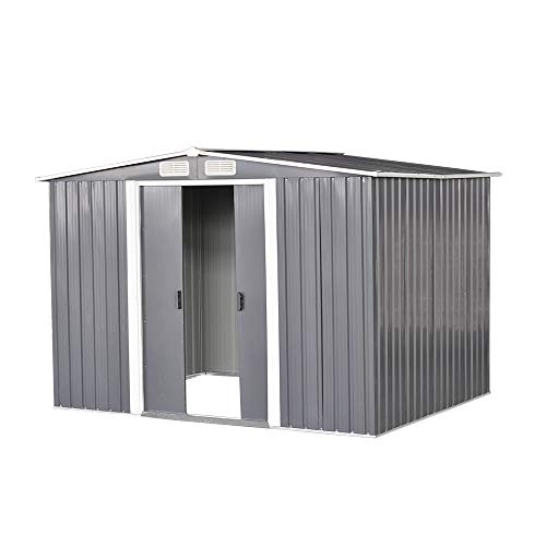 elevenfurniture 8 x 6ft Tool Storage House Metal Garden Apex Roof Storage Shed (Grey)
