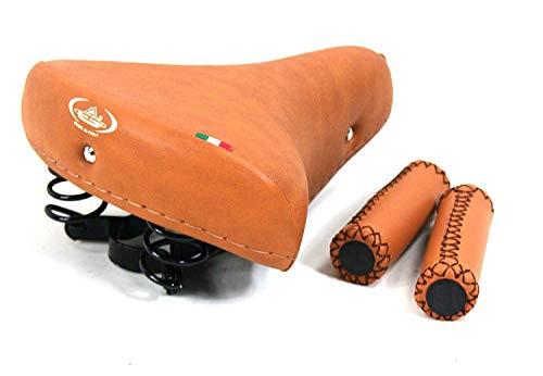 Sillín Montegrappa con Muelles + Manillar 120mm Eco-Cuero / Miel Ideal para Bicicleta Graziella - Holanda - Bici de Paseo - Frenos de Varilla/Vintage