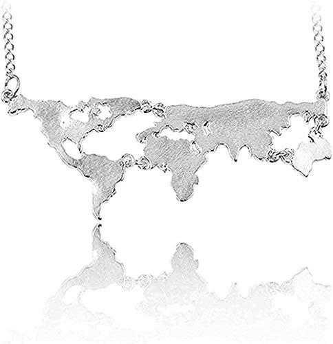 Collar Mujer Collar Hombre Collar Collar Mapa del mundo Composición Collares Colgantes Continentes mundiales exagerados Collar Wogift para profesor de geografía Regalo para estudiantes y niños Collar