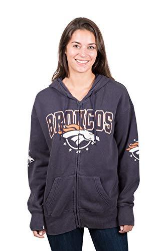 Ultra Game NFL Denver Broncos Womens Full Zip Fleece Hoodie Sweatshirt Banner Jacket, Team Color, X-Large