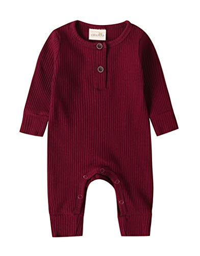 JBP Infant Newborn Baby Boys Girls Knitted Jumpsuit Button Solid Romper Bodysuit Long Sleeve One Piece Unisex Baby Ribbed Pajamas Outfits (Red Wine, 3-6 Months)