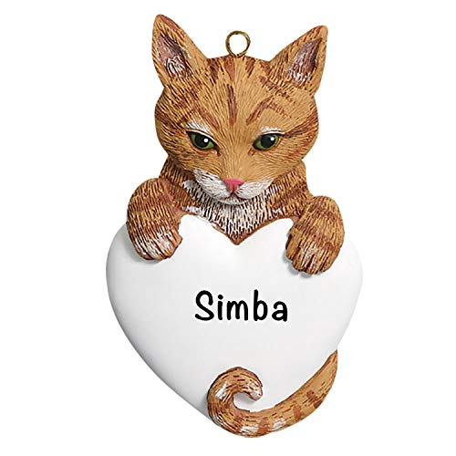 Cat Christmas Tree Ornaments 2021 – Charming Personalized Orange Tabby Ornaments for Christmas Tree – Premium Polyresin Orange Tabby Christmas Ornaments and Orange Tabby Gifts 2021