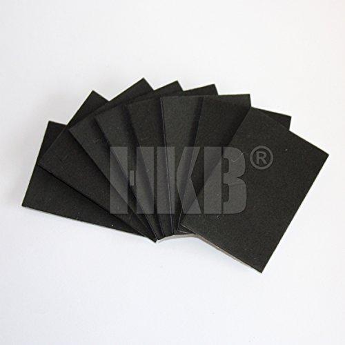 HKB ® 8 Stück Gummimatte für Kfz und Haushalt, z.B. als Polster für Glasplatten, Steinplatten etc, 60 x 40mm aus Gummi, 1mm stark, schwarz selbstklebend, Hersteller Hettich, Artikel-Nr. 02393