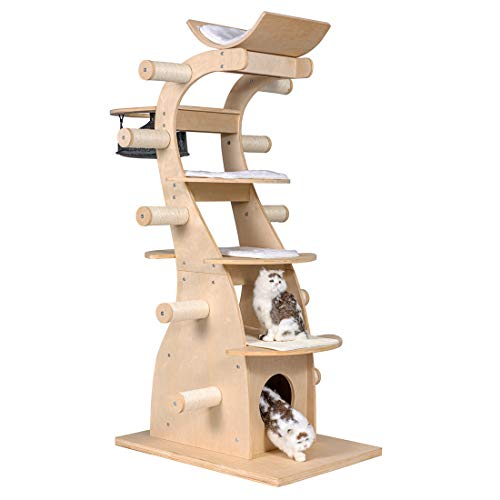 "Good Life 63"" Modern Design Cat Tree House with Scratching Post Tower - Deluxe Solid Wood Indoor Furniture - 6 Floors Kitty Condo Climbing Play Center with Hammock Perch Cave and Ten Sisal Columns"