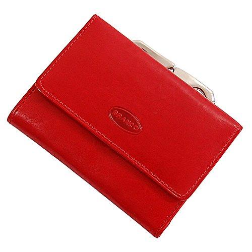 Branco handliche, kleine Leder Damen Geldbörse Portemonnaie Geldbeutel Bügel Börse Knipser Gobago 10,5 x 7,5 cm (Rot)