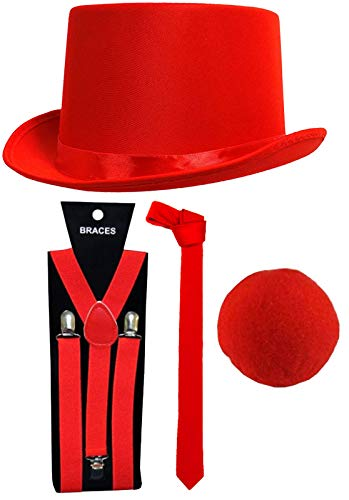 Labreeze Red Nose Day Satin-Hut Krawatte Nase Hosenträger Comic Relief Fasching Party Set