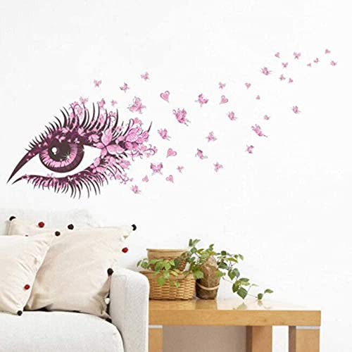 Etiqueta engomada impermeable extraíble Etiqueta de pared rosa Ojos de mariposa Etiqueta engomada de la pared para niñas Sala de estar TV Fondo de pared Decoración de la pared