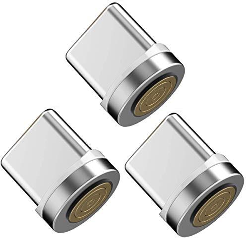 Vialex Paquete de 3 adaptadores de Punta magnética Tipo C/Enchufe/Cabezal/Enchufe, Compatible con...