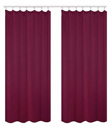 WOLTU #489-2, 2er Set Gardinen Vorhang Blickdicht mit kräuselband für schiene, leichte & weiche Verdunklungsvorhänge für Wohnzimmer Schlafzimmer Tür, 135x225 cm, Brombeere