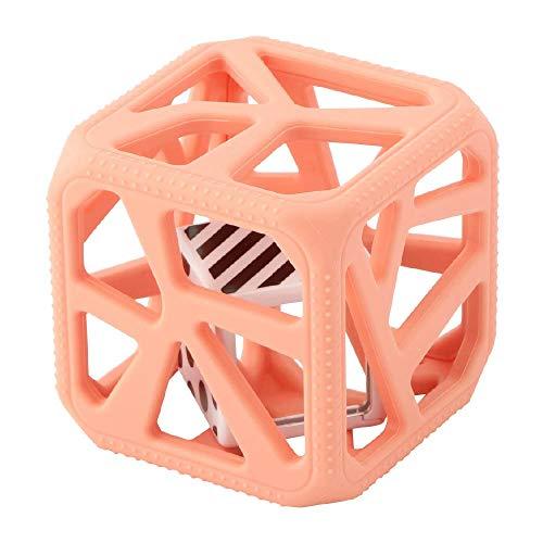 MALARKEY KIDS Kids Hochet Cube de Dentition en Silicone Alimentaire Facile à Agripper Pêche Rose 1 Unité