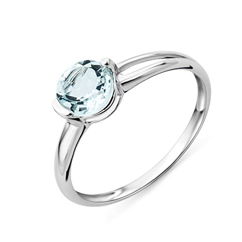 Miore 9ct White Gold Aquamarine Verlobungsring - MG9087R