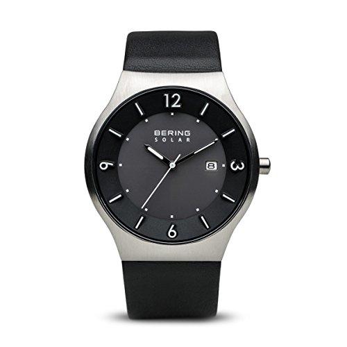 BERING Herren-Armbanduhr Analog Solar Leder 14440-402