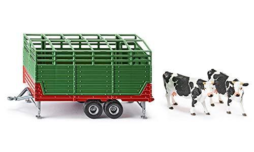 SIKU 2875, Remolque de ganado con 2 vacas de raza Holstein, 1:32, Multifuncional, Metal/Plástico, Verde