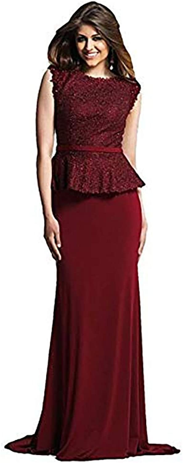 Dave and Johnny Refined Lace Peplum Evening Dress
