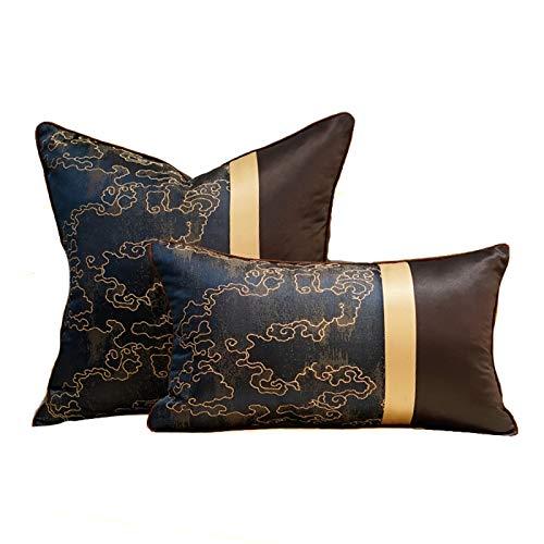 QXbecky Fundas de Cojines Fuyun Estilo Chino luz de Lujo de Alta precisión Funda de cojín de Viento Funda de Almohada de Cintura 2 Piezas (sin núcleo) decoración de sofá
