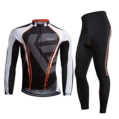 ZEROBIKE Uomo Manica Manica Lunga Jersey Abbigliamento Set, Ciclismo Jersey Camicia + 3D Gel Imbottito Pantaloni Ciclismo Equitazione Bike Sportswear, 0010, XL