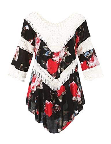 Ferand dreiviertellanges gehäkeltes Damen Poncho Bluse Tunika Top mit Rüschen und Blumenaufdrucken, Einheitsgröße, Stil 3: Weiß