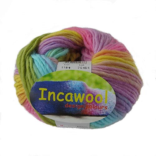Hjertegan Incawool Print - Ovillo de Lana, Colores del arcoíris
