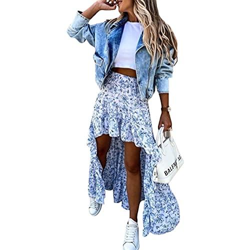 Falda Bohemio de Verano Falda Midi Larga Irregular para Mujer Falda de Playa con Estampado Floral y Cintura Alta Elástica Skirt Asimetría Vintage para Viaje Vacaciones (Azul 2, M)