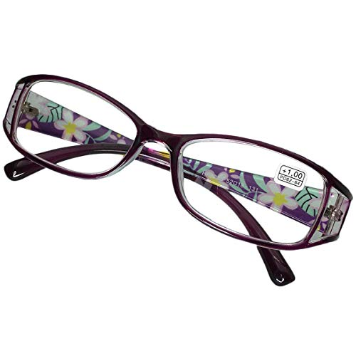 KOOSUFA Lesebrillen Damen Lesehilfe Sehhilfe Augenoptik Blumen Qualität Vollrandbrille 1.0 1.5 2.0 2.5 3.0 3.5 4.0 4.5 5.0 5.5 6.0 (Violett, 4.5)