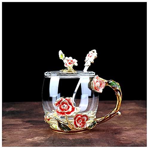 Copa de esmalte creativo de la tetera de la taza de la taza de café de la taza de café de la taza adolescente con la taza de té de la flor de la cubierta (Color : D)