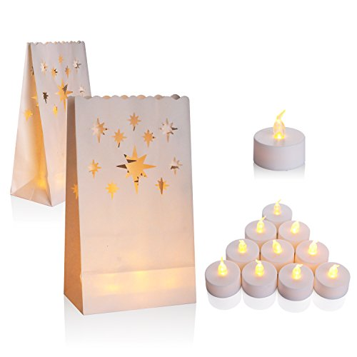 50-Set Flameless Tealight + Candle Bag, AceList Flickering LED Tealight Tea Lights w/Flame Resistant Paper Luminary Bags for Wedding, Reception, Party and Event Decor