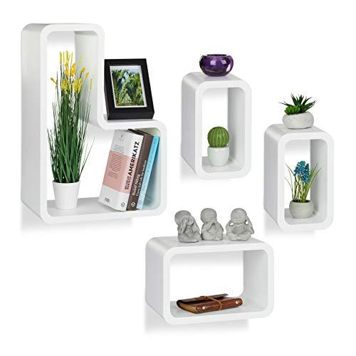 Relaxdays wandrek, set van 4, modern, hangkast, cube, voor boeken, dvd's, decoratie, L-vorm, wit