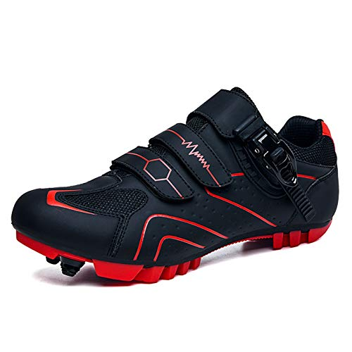 Mens MTB Cycling Shoes SPD Mountain Bike Shoes Road Bike Shoes Breathable Outdoor Cycle Shoes with SPD Cleats Black Red