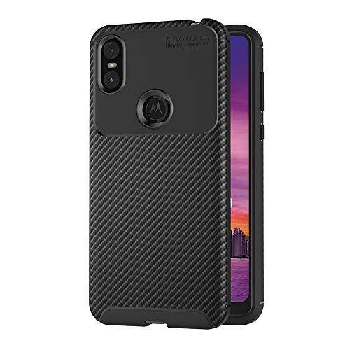 AICEK Compatible Moto One Hülle, Schwarz Silikon Handyhülle für Motorola Moto One Schutzhülle Karbon Optik Soft Hülle (5,9 Zoll)