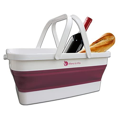 Altera la Vita Cesta de la compra de picnic, plegable, 15 litros, impermeable, ahorra espacio, para camping, caravana