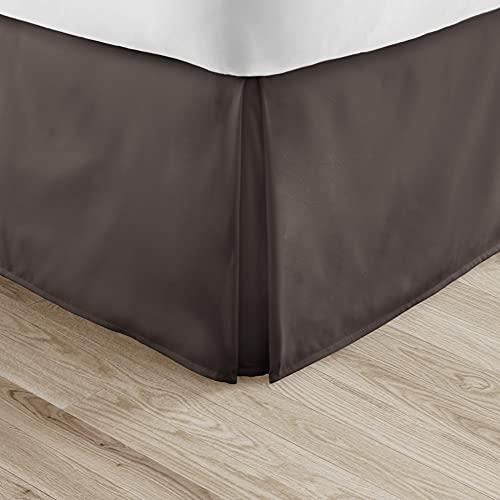 Linen Market Bedskirt ienjoy Home Becky Cameron Luxury Pleated Dust Ruffle Bed Skirt, Twin, Chocolate
