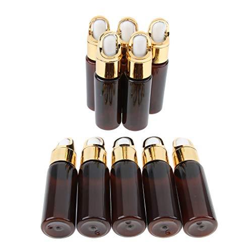 Generic 10x Perfumes Vacíos Aceites Esenciales Frascos Cuentagotas 20ml Ámbar Transparente - Ámbar 20ml