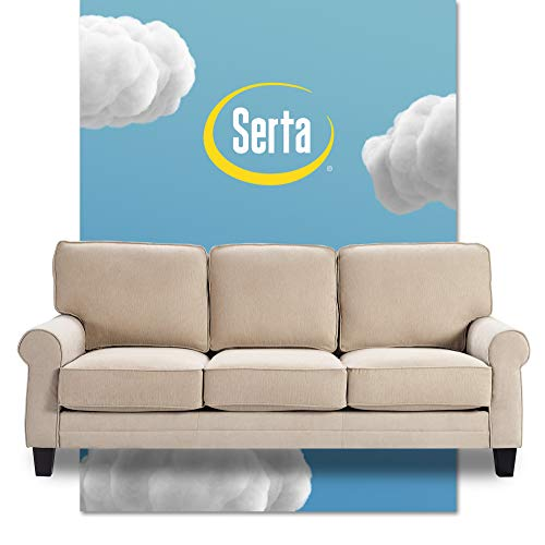 """Serta Copenhagen Storage Sofas Two or Three Person Living Room Couch with Soft Foam-Filled Cushions, Easy-to-Clean Microfiber Upholstery, 77"""", Beige"""